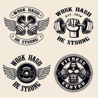 werk hard gym badges vector