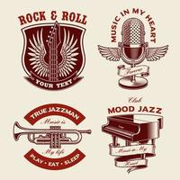 set badges met muziekthema vector