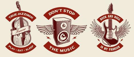 muzikale thema badge set vector