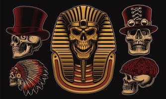 set van vector schedels met verschillende karakters