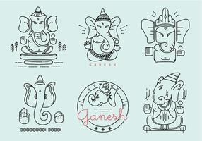 Ganesh Gekleurde Vector Pack