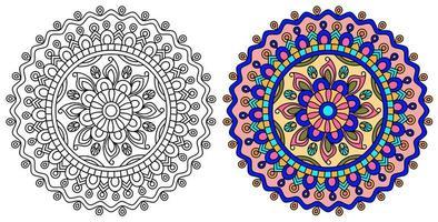 roze en paarse en gele mandala ontwerpsjabloon vector