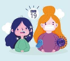 covid 19 virus pandemie met zieke meisjes met gezichtsmasker