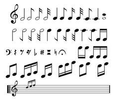verzameling van een muzieknoten op wit