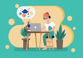 vrouw studeren online cursus vector