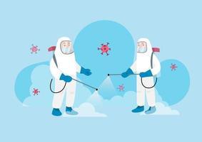 werknemers in beschermende pak spuiten virus desinfectiemiddel