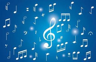 verzameling van een muzieknoten op blauw