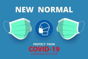 nieuwe normale, bescherming tegen ziekteposter vector