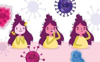 covid 19 pandemisch ontwerp met vrouwen met symptomen