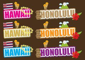 Hawaii en Honolulu Titels vector