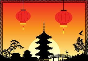 Gratis China Town Vector Illustratie