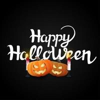 happy halloween pompoenen en kaarsen op zwart