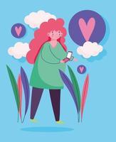 jonge vrouw met smartphone liefde bubbels buitenshuis vector