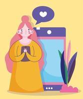 jonge vrouw houdt smartphone praten bubble liefde