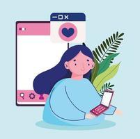 jonge vrouw met smartphone bericht liefde vector