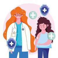 vrouwelijke arts en meisjespatiënt met verband op wapen