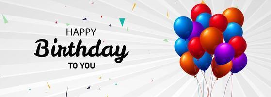 gelukkige verjaardag banner met kleurrijke ballon boeket