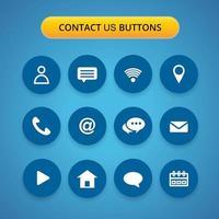 contact met ons op blauwe knop set vector