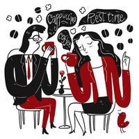 koppel koffie drinken tijdens een pauze