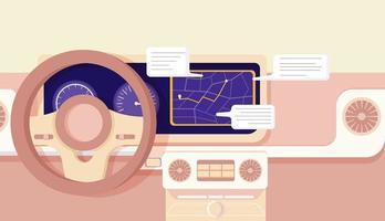 cartoon auto navigatie cockpit ontwerp