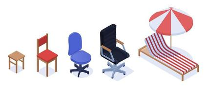 verschillende stoel set carrière groei indicator concept vector