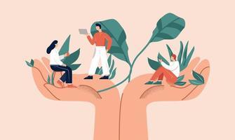enorme handen met bladeren die kleine kantoormedewerkers vasthouden