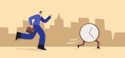 cartoon zakenman loopt om wekker te vangen vector