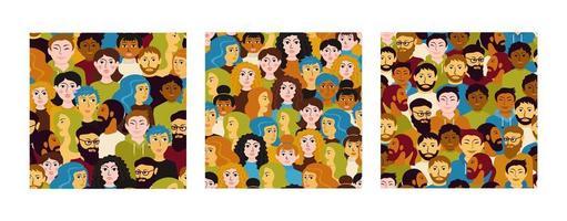 menigte van mensen naadloze patroon set