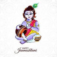 vrolijke krishna janmashtami kaart met krishna en pot vector