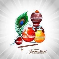 mooie religieuze kleurrijke krishna janmashtami-kaart vector