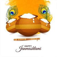 vrolijke janmashtami festivalkaart met twee veren vector