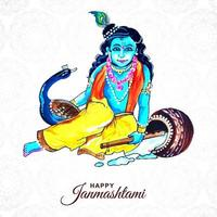 gelukkige janmashtami festival achtergrond withkrishna vector