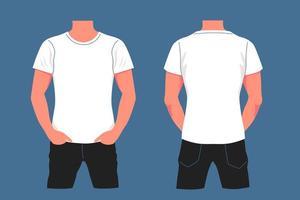 cartoon wit t-shirt mockup op mannelijk lichaam