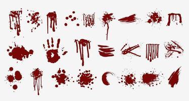 verschillende bloed- of verfspatten afdrukken en spatten vector