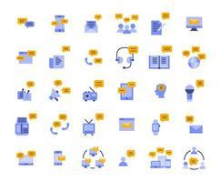 bericht platte pictogramserie vector