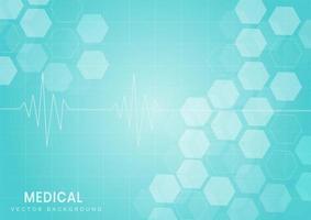 abstract blauw hexagon patroon medisch ontwerp vector