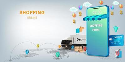 online winkelen voor mobiel transport en bezorgservice vector