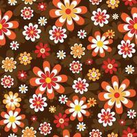 Jaren 60 mod stijl naadloze bloemmotief vector