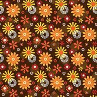 decoratieve mod-stijl bloem en cirkel naadloos patroon vector