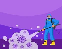 man in blauw pak covid-19 schoonmaken vanuit de lucht