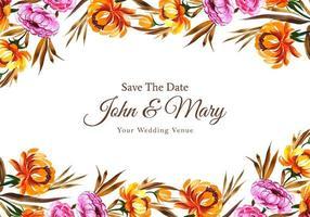 bloemen sparen de datum bruiloft kaartsjabloon