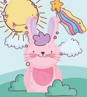 gelukkig roze konijn buitenshuis vector