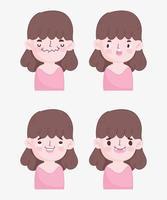 pack van jonge brunette meisje met verschillende gezichten