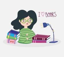 Serieuze meid die van boeken houdt