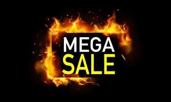 mega verkoopbanner met vlammen vector