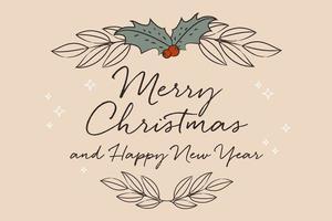 elegante wenskaart voor Kerstmis en gelukkig Nieuwjaar vector