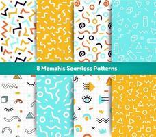 8 Memphis naadloze patronenpakket vector
