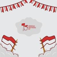 Indonesische onafhankelijkheidsdag hand getrokken ontwerp