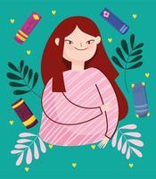 jonge verlegen brunette meisje en boeken