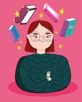 jonge vrouwen met boeken zwevend
